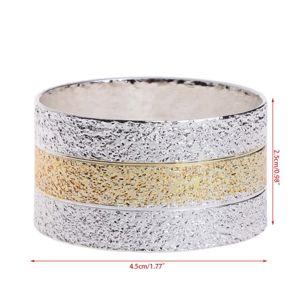 Cicitop Gold and Silver Napkin Ring for Wedding Banquet and Home Decoration