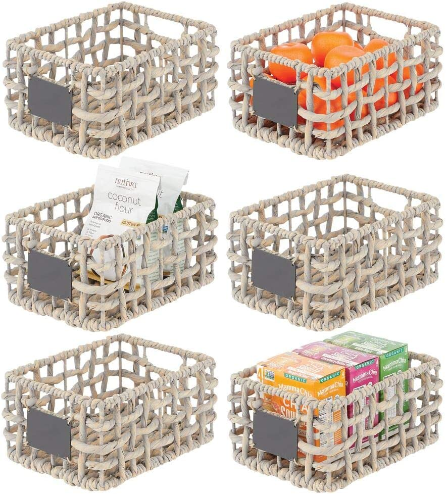 mDesign Water Hyacinth Open Weave Kitchen Cabinet Pantry Basket with Built-in Chalkboard Label for Snacks, Produce, Vegetables, Pasta - Food Safe - 6 Pack - Gray Wash