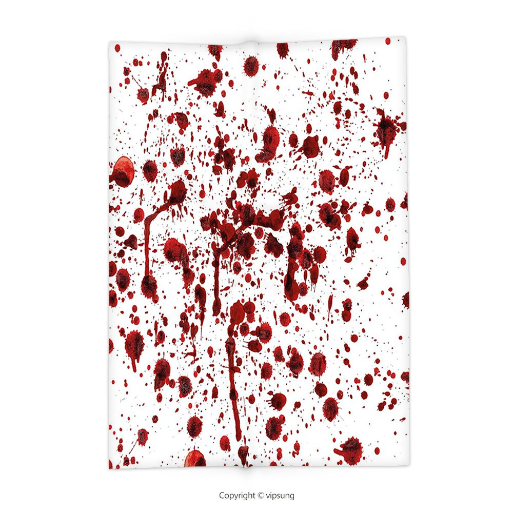 Custom printed Throw Blanket with Bloody Splashes of Blood Grunge Style Bloodstain Horror Scary Zombie Halloween Themed Print Decor Red White Super soft and Cozy Fleece Blanket by vipsung