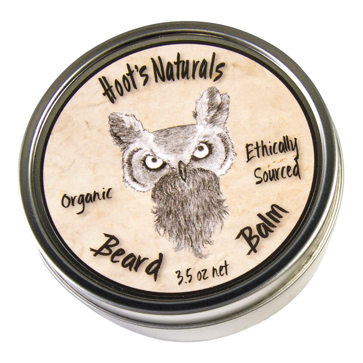 Hoot's Naturals Beard Balm, Extra Large 3.5oz - Organic Beard Oil and Butter Recipe with No Added Fragrance - Leave-In Beard Softener and Conditioner, That Thickens, Strengthens and Styles Facial Hair Growth Hoot' s Naturals