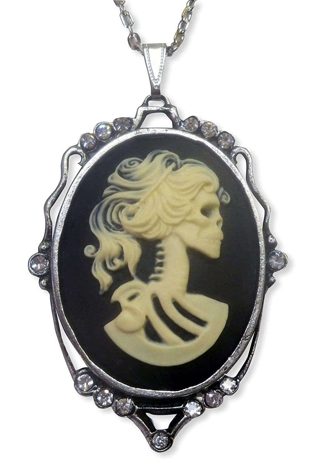 Real Metal Jewelry Large Lolita Cameo Silver Necklace