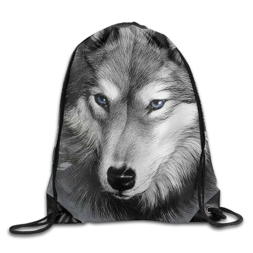 Wolf HollowPortable Gym Sack Drawstring Backpack Shoulder Bag Sports Sackpack KOLIpq