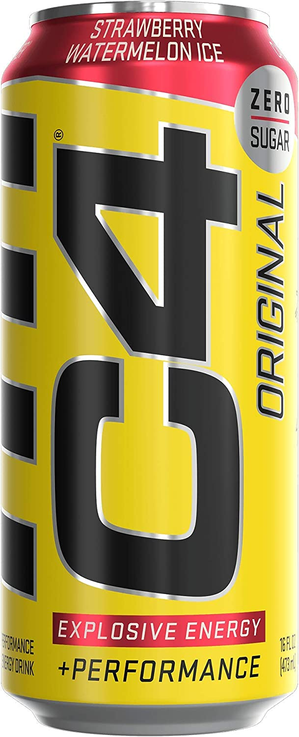 C4 Original Sugar Free Sparkling Energy Drink Strawberry Watermelon Ice | Pre Workout Performance Drink with No Artificial Colors or Dyes | 16oz (Pack of 12)