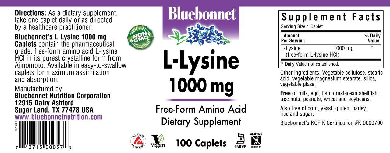 Bluebonnet L-Lysine 1000 mg Caplets, 100 Count