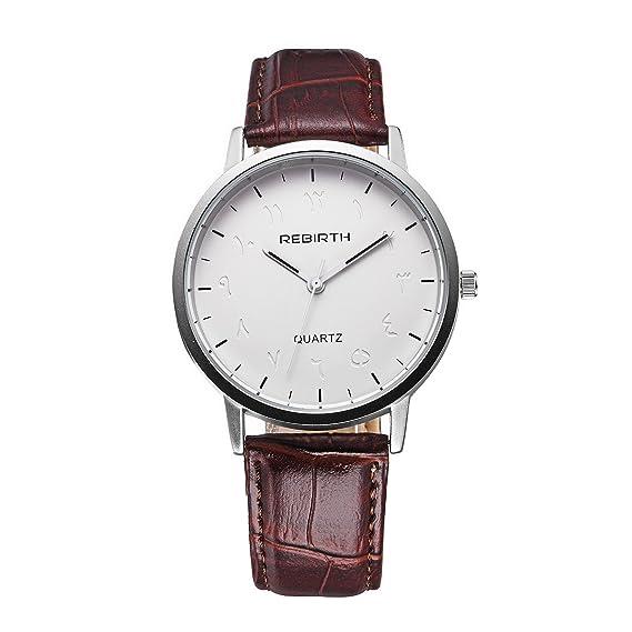 reloj de esfera blanca grande de la mujer con el reloj de manera correa de cuero marrón de la vendimia de las señoras elegantes elegantes: Amazon.es: ...