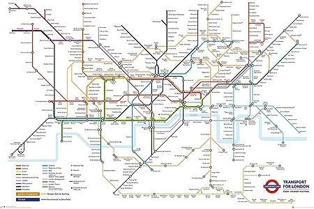 Transport For London Map.Grindstore Laminated Transport For London Underground Map Maxi Poster 61x91 5cm