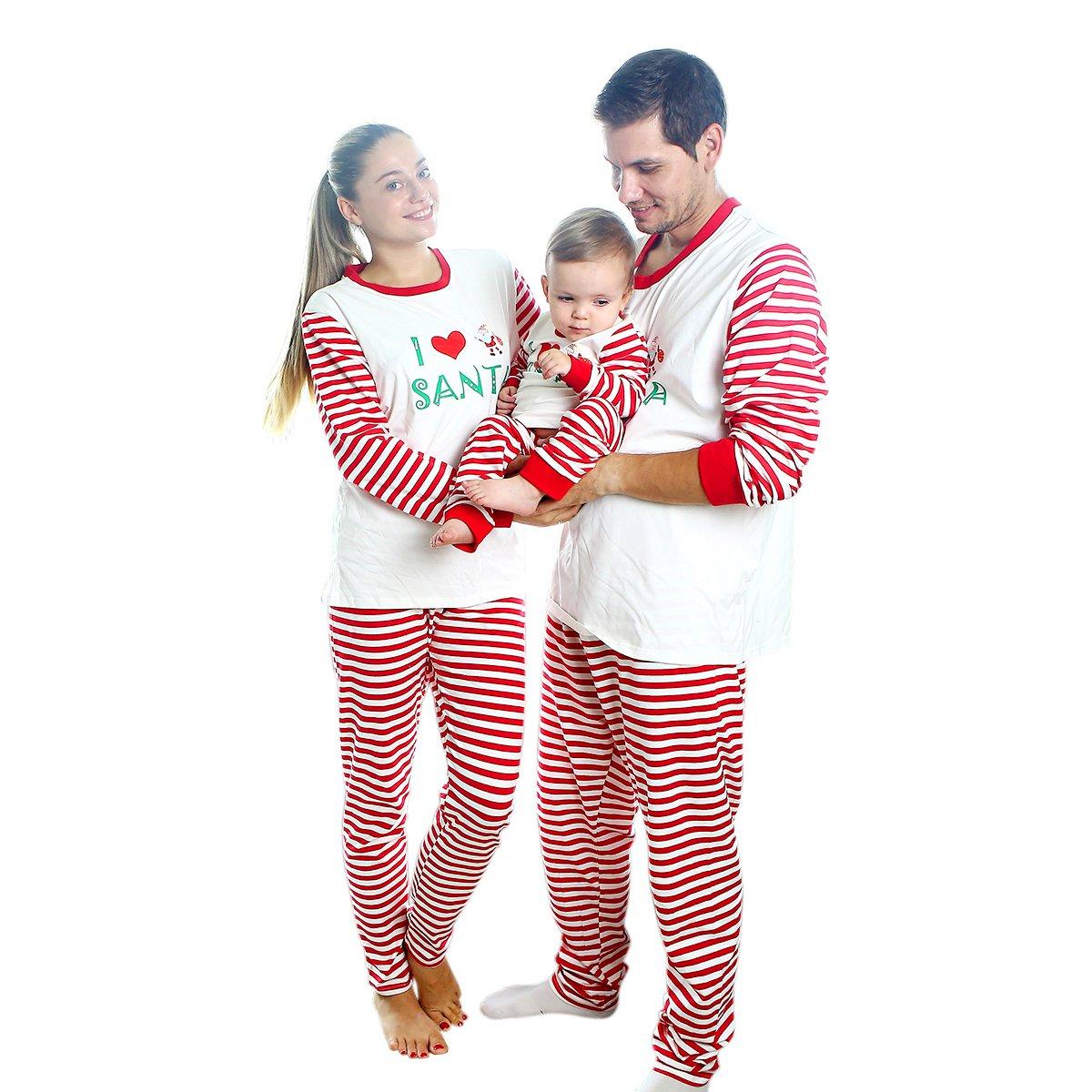 Matching Christmas Pajamas for Family with Baby,BOBORA Stripes Sleepwear