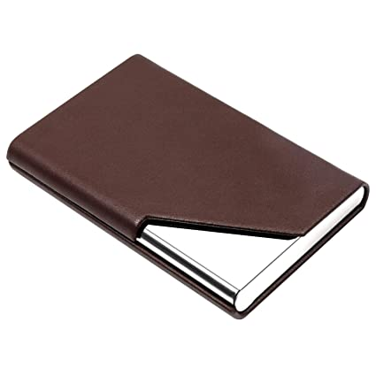 60e71fc40a52c PADIKE Business Name Card Holder Luxury Leather   Stainless Steel Multi Card  Case