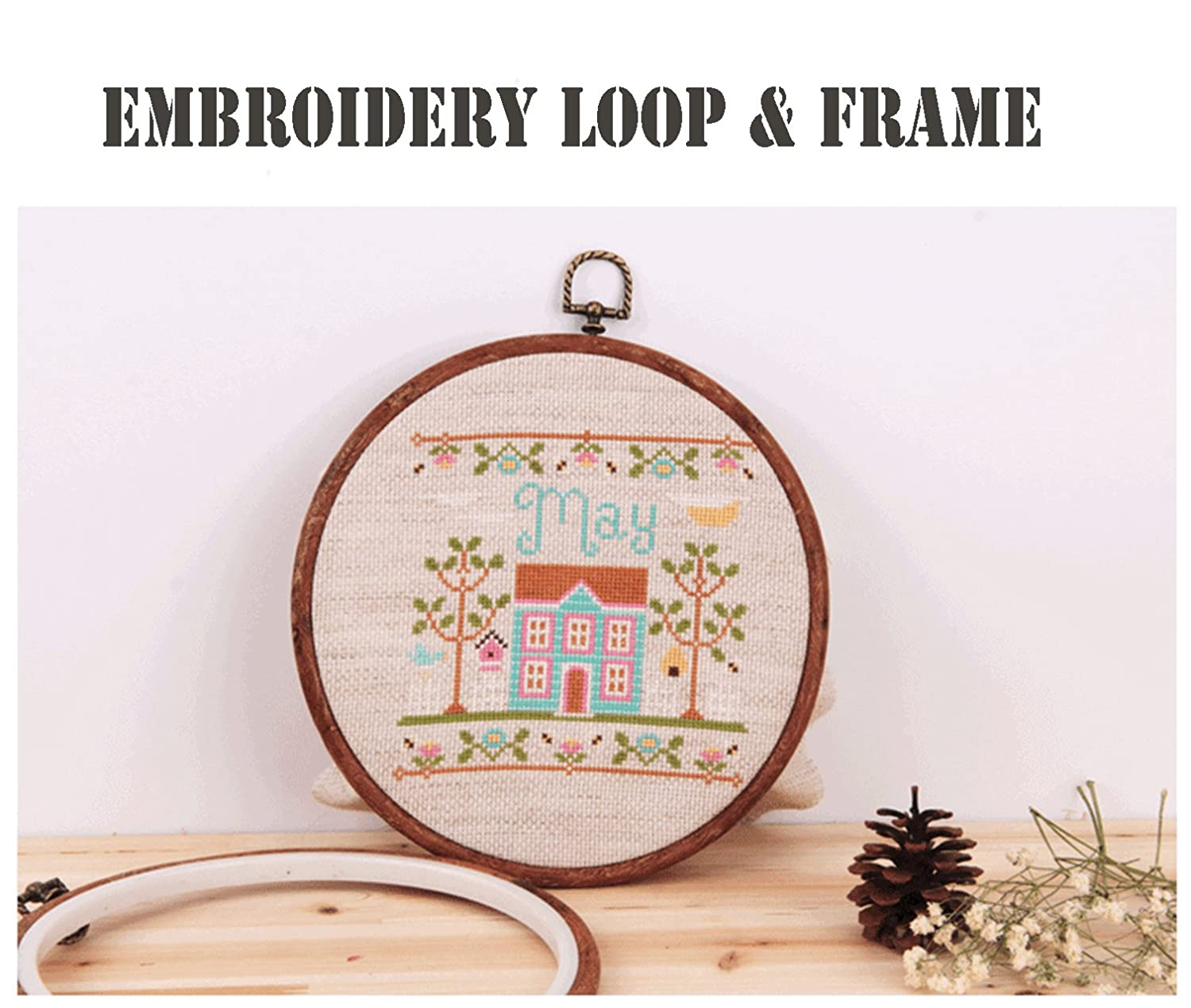 Amazon.com: Embroidery Hoops Cross Stitch Hoop Ring Imitated Wood ...