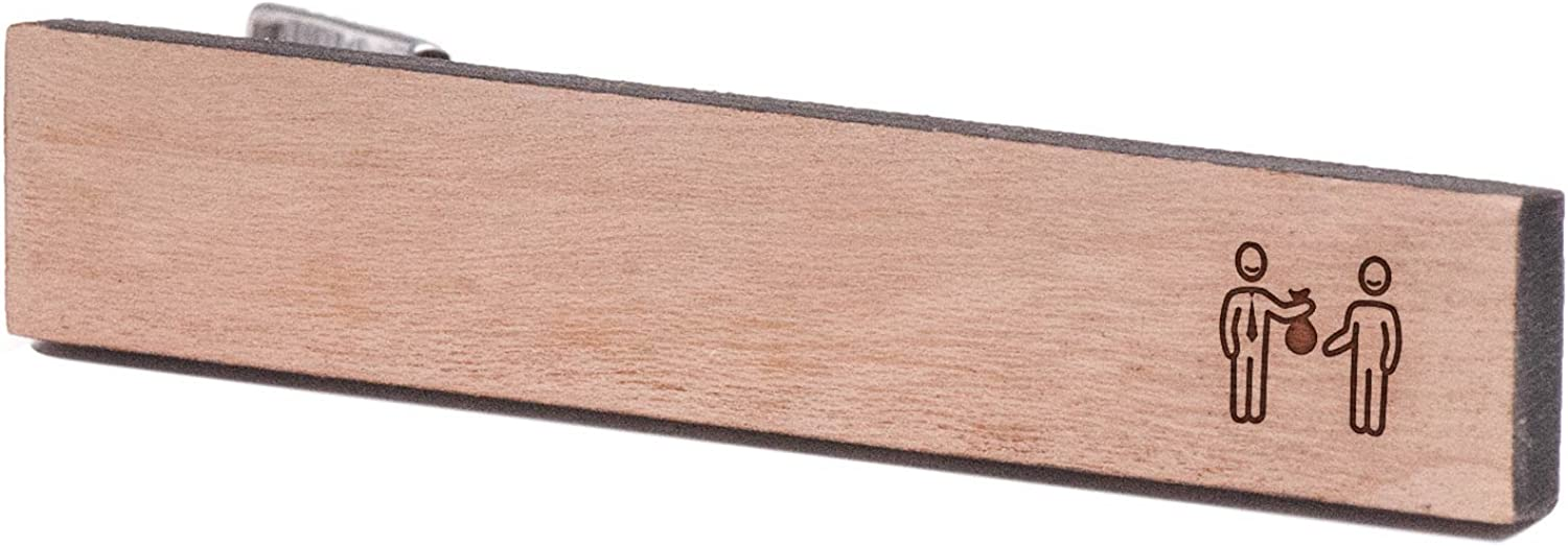 Cherry Wood Tie Bar Engraved in The USA Wooden Accessories Company Wooden Tie Clips with Laser Engraved Donor Design