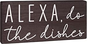 Alexa Do The Dishes Sign - Kitchen Decor - Funny Modern Farmhouse Home Wall Art or Black and White Counter Decoration 5.5x12 Rustic Wood Decorative Shelf Accent or Wooden Countertop Plaque