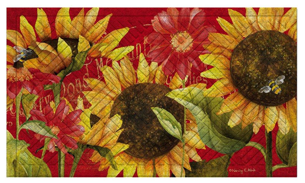 Evergreen Flag & Garden 41EM2122 Sunflower Floor Embossed Door Mat, Multicolor