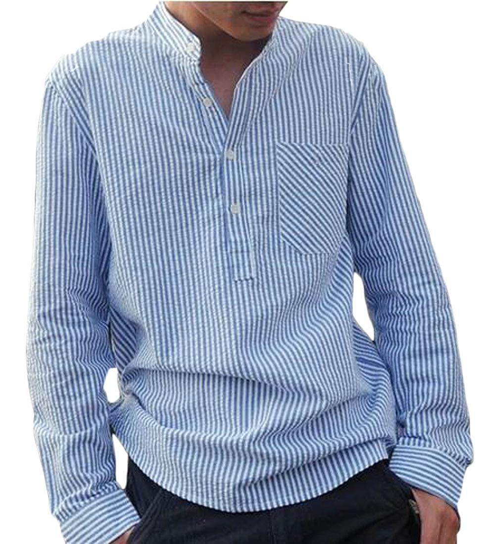 WAWAYA Mens Plus Size Casual Business Stripe Long Sleeve Dress Henley Shirts