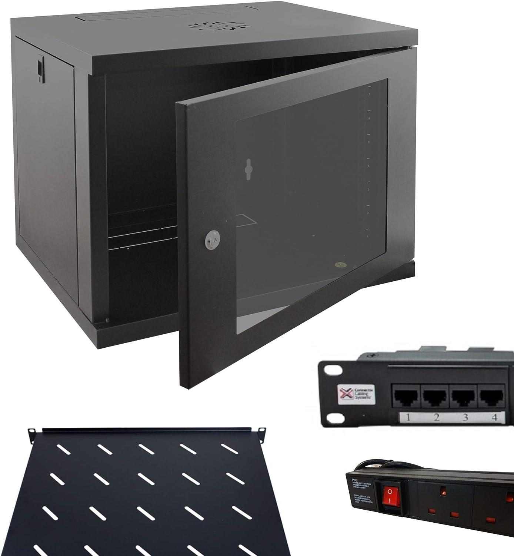 6u 450mm 19 Black Wall Mounted Data Cabinet with 6 way PDU Power Distribution Unit