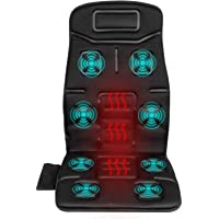 Naipo Vibrating Massager Seat Cushion Massage for Full Back and Neck with 8 Motor Vibrations 4 Modes 3 Speed Heating for Home Office Car