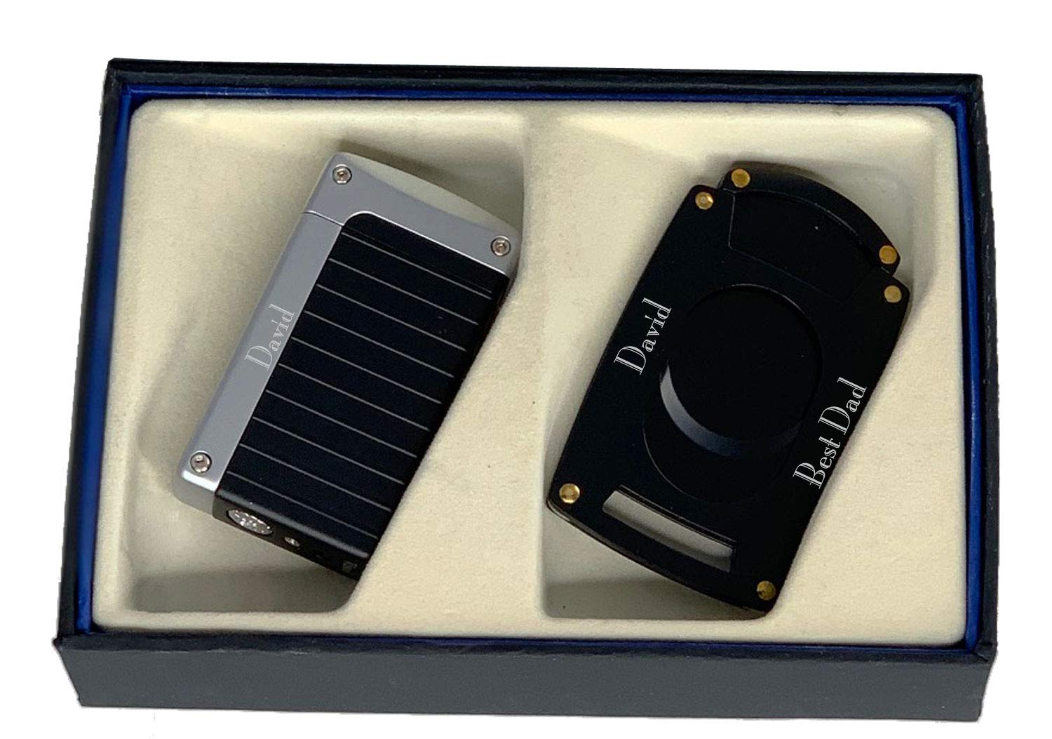 Personalized Visol Norfolk Cigar Lighter and Cutter Gift Set - Black with Free Laser Engraving