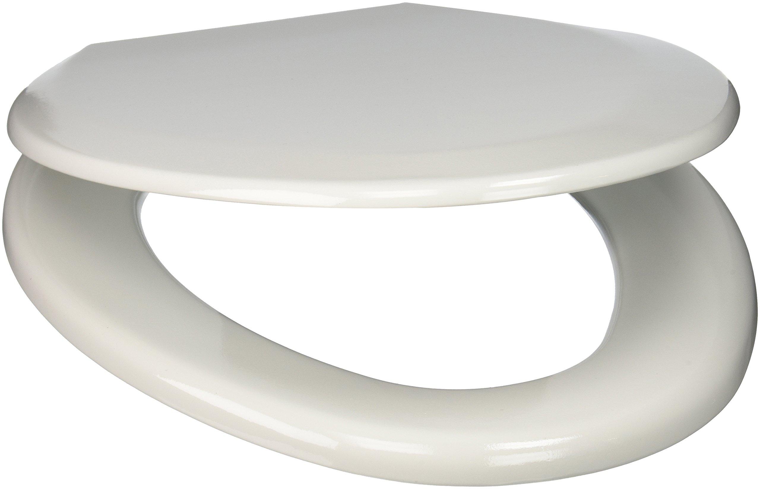 PlumbTech 124-00 Premium Molded Wood Elongated Toilet Seat with Adjustable Hinge, White