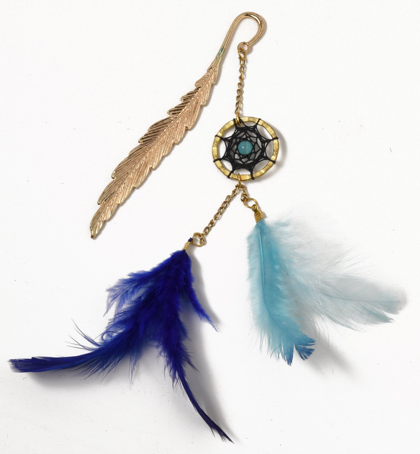 Rooh Handmade Dream Catcher with Feathers ~ Blue Leaf ~Book marks