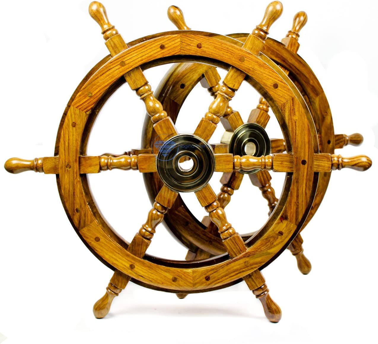 Nagina International Nautical Handcrafted Wooden Ship Wheel - Home Wall Decor (24 Inches, Natural Wood)