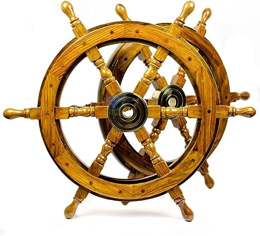 Wall Decor Nautical Brown wooden Ship wheel 24 Inch