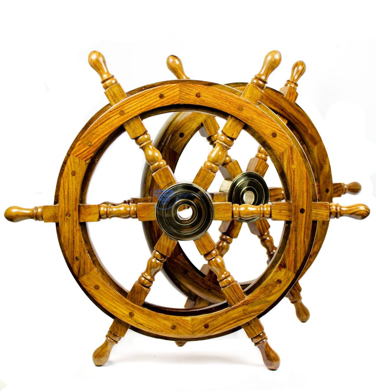 Nagina International(ナジャイナインターナショナル) Nautical高級ハンドクラフト木製操舵輪 | 海賊風家庭壁装飾&ギフト |24 Inches NWH0005NW B01DO73CZK 24 Inches|ナチュラルウッド ナチュラルウッド 24 Inches