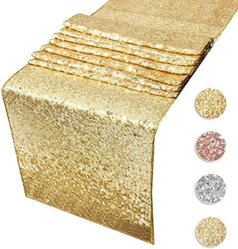 MENGQ Gold Table Runner 12x72 Sequin Table Runner Party Decor Glitter Table Linens Runner Sparkly Dinner Party Supplies Fabric for Baby Bridal Shower Holiday Celebrations