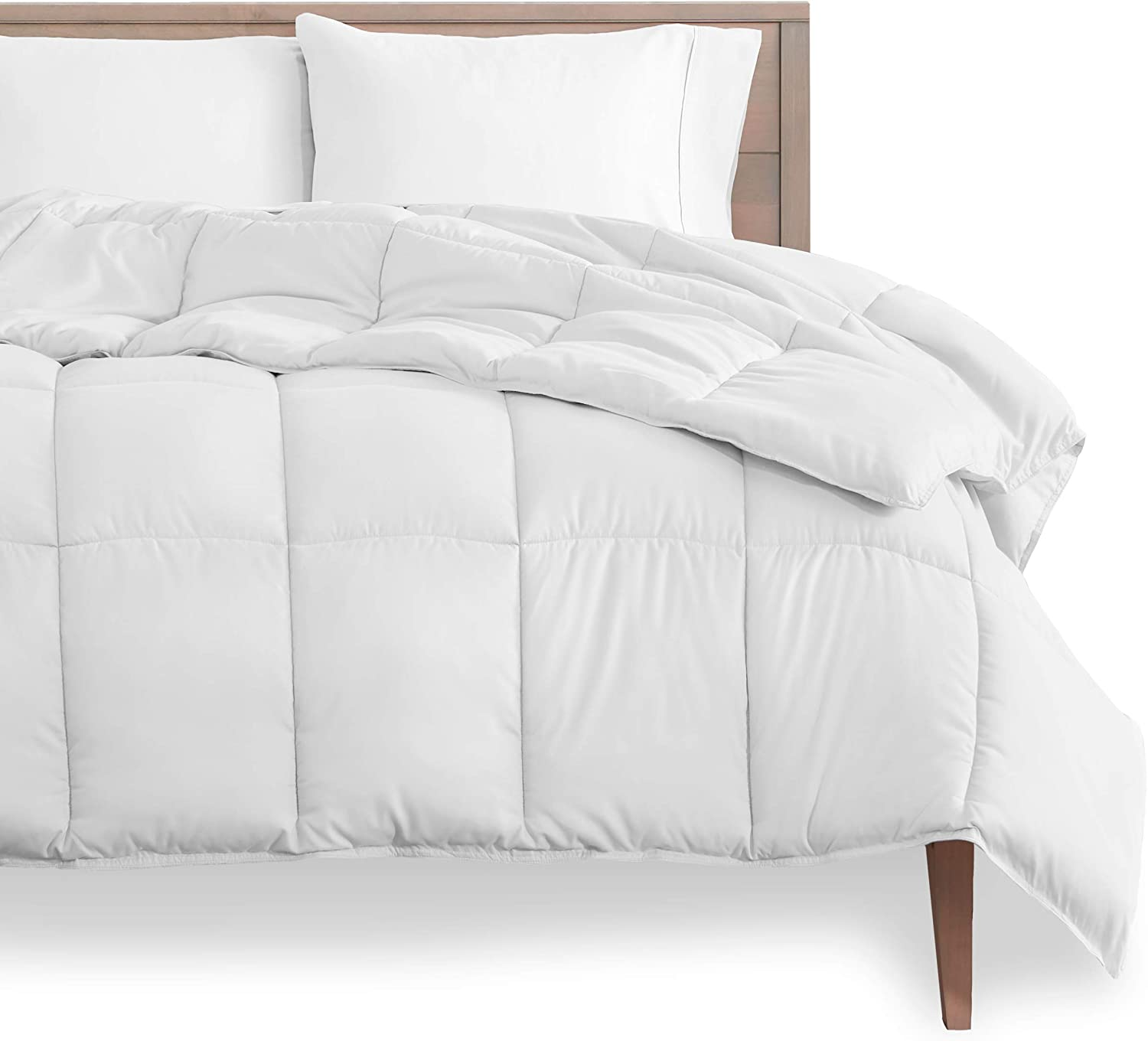 Bare Home Duvet Insert Comforter - Queen Size - Goose Down Alternative - Ultra-Soft - Premium 1800 Series - Hypoallergenic - All Season Breathable Warmth (Queen, White)