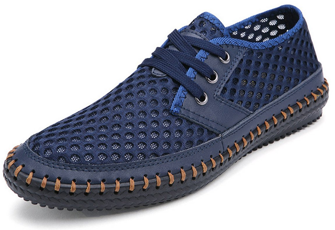Forucreate Men's Quick Drying Aqua Water Shoes Summer Breathable Mesh Beach Shoes(Blue 42)