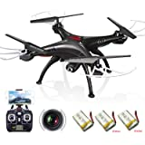 Cheerwing Syma X5SW Wifi FPV Drone with Camera Live Video RC Headless Quadcopter with Extra 2 Batteries Black