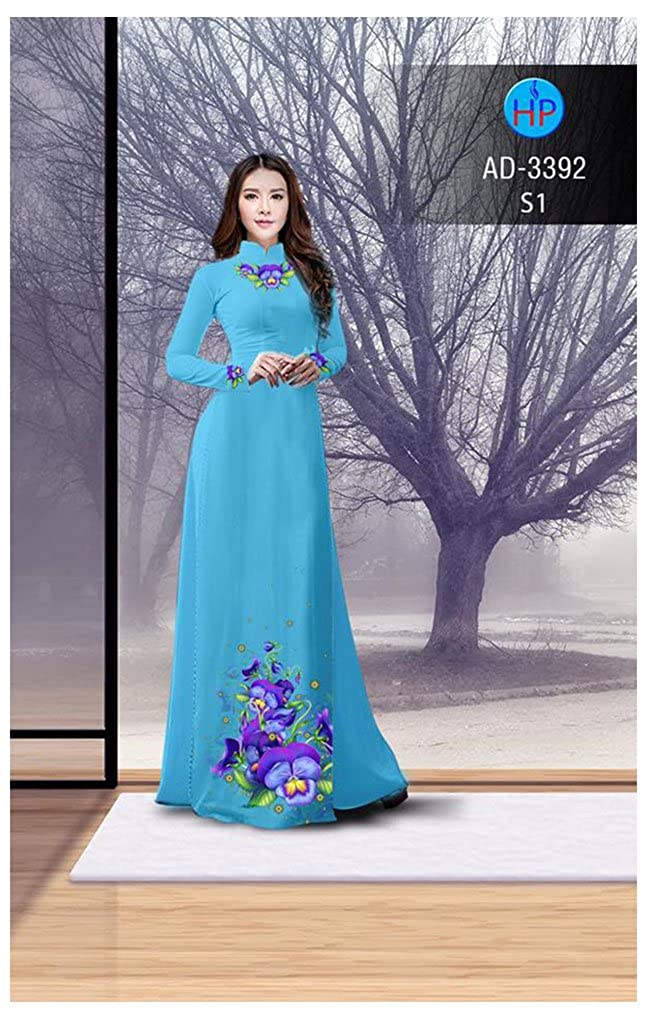 ADVN1075 Traditional Vietnamese Long Dress Collections with Pants Ao Dai Silk 3D All Size