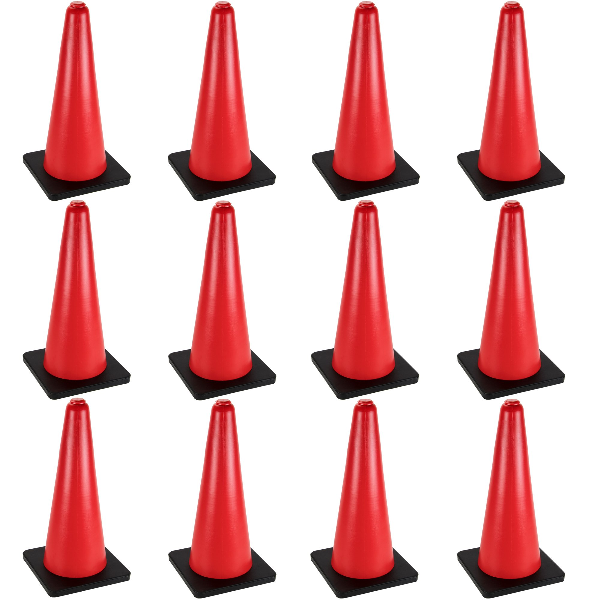 24'' High Hat Cones in Fluorescent Orange with Black Base for Indoor/Outdoor Traffic Work Area Safety Marker & Agility Sport Training by Bolthead Industrial (12-Pack)