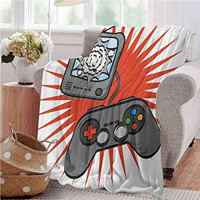 Boys Room Baby Blanket Video Games Themed Design in Retro Style Gamepad Console Entertainment Baby Small Fleece Blanket 30x50 Inch Orange Grey White Throw Size: Home & Kitchen