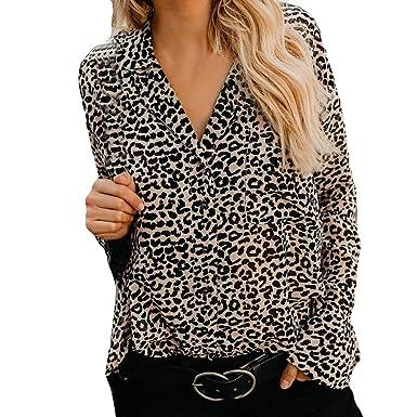 5be8305229c45c Strung Damen Leoparden Druck Shirt V-Ausschnitt Casual Top T-Shirt Frauen  Langarm Bluse