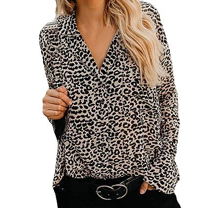 Strung Damen Leoparden Druck Shirt V-Ausschnitt Casual Top T-Shirt Frauen Langarm Bluse Tunika Sweatshirt Mädchen Pullover Ou
