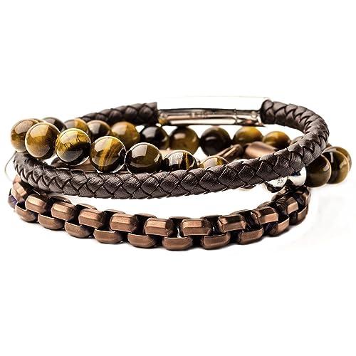 34e9bfba64e46 Amazon.com: Tribal Hollywood Espresso Mens Bracelet Stack with Steel ...