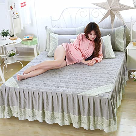MXJ61 Cotton Bedspreads Bed Skirt Single Piece Lace Bed Sheets Dust Proof  Non Slip