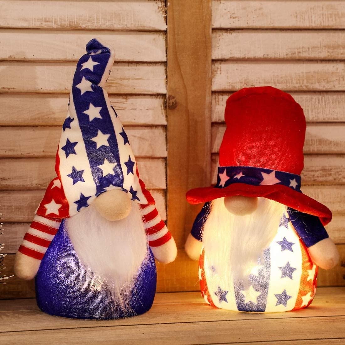 EDLDECCO Patriotic Gnome Light up 9 Inches Set of 2 Stars and Stripes Nisse Figurine Plush Swedish Nordic Tomte Scandinavian Elf 4th of July Memorial Day Veterans Day Decor (Red & White)