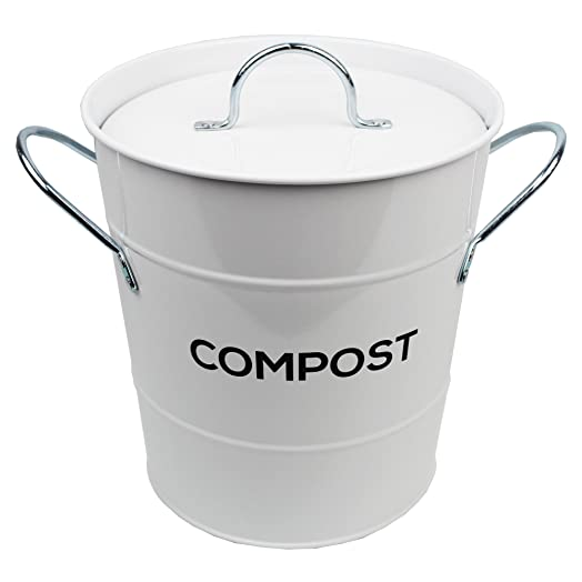 white metal kitchen compost caddy composting bin for food waste recycling