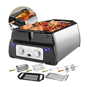 ChefWave Smokeless Indoor Electric Grill & Rotisserie – 5 in 1 Non-Stick Tabletop Kitchen BBQ Grill with Infrared Technology – Includes Kebab & Skewer Set, Fries Basket & Fish Cage, Drip Tray