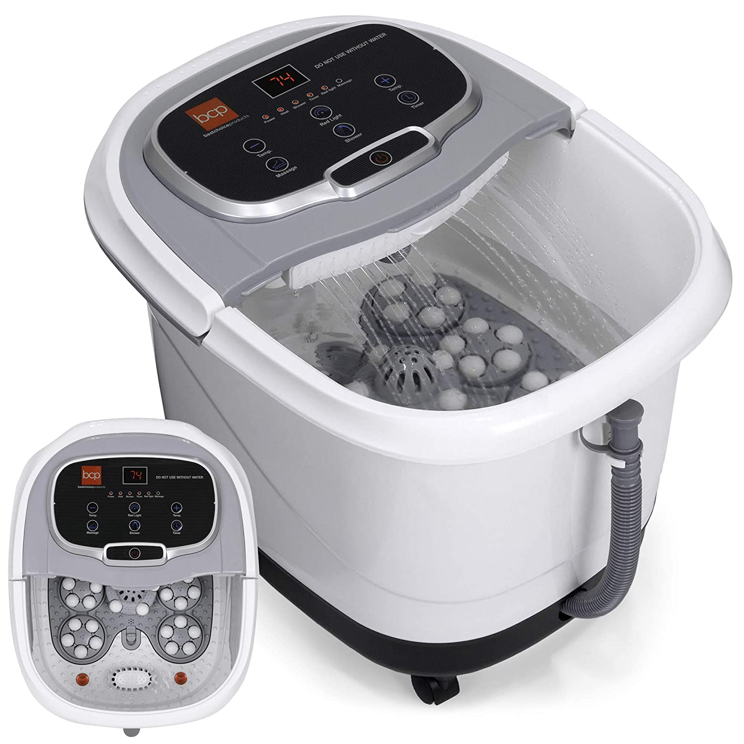 Best Choice Products Portable Heated Foot Bath Spa w/Shiatsu Auto Massage Rollers, Taiji Massage, Acupuncture Points, Temp Control, Timer, LED Screen, Drain Filter, Shower Function, Silver