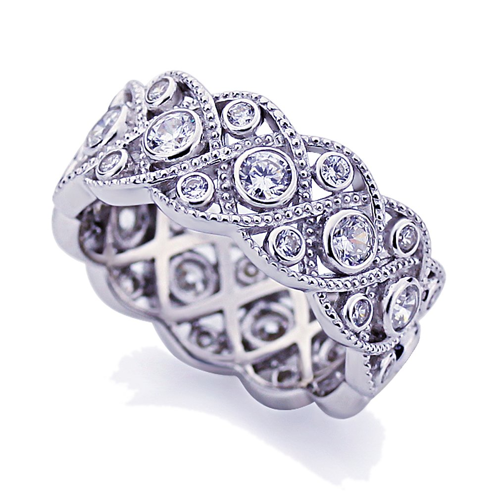 c25b0eb4a3e Amazon.com: Platinum Plated Sterling Silver Wedding Ring Vintage ...