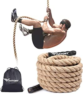 Vivitory Gym Fitness Training Climbing Ropes, Workout Gym Climbing Rope, Home Training and Fitness Workouts,1.5'' in Diameter, Available 10, 15, 25, 30 Ft