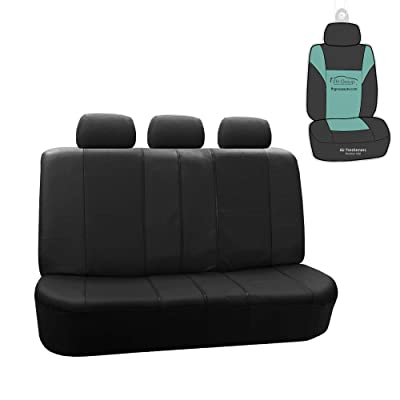 FH Group PU007013 Deluxe Leatherette Split Bench Car Seat Cover, Black Color w. Gift- Fit Most Car, Truck, SUV, or Van: Automotive