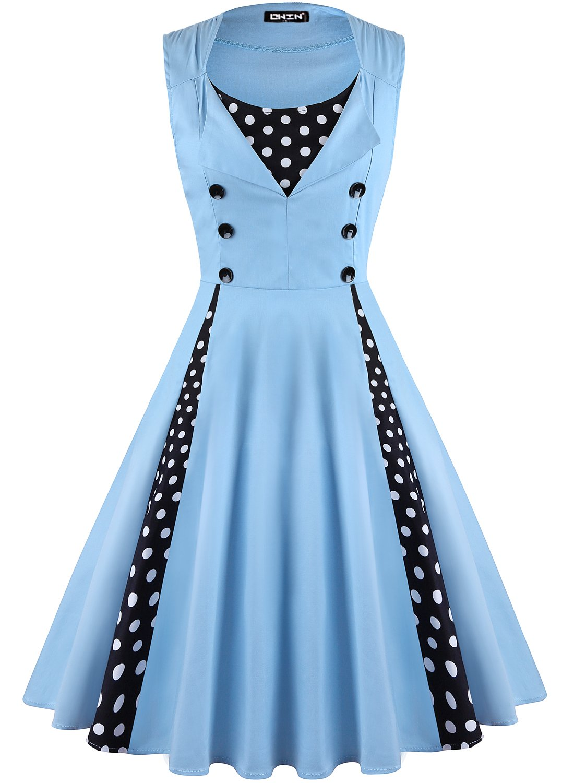 OWIN Women's Polka Dot Retro 1950s Rockabilly Cocktail Swing Party Dress 1422526919998