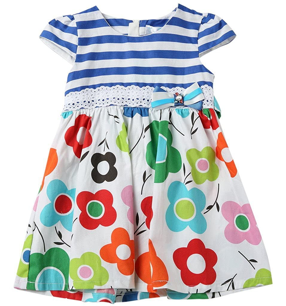 Sharequeen Stripe Flower 3D Bowknot Cap Sleeve Cotton Kid Dress N10