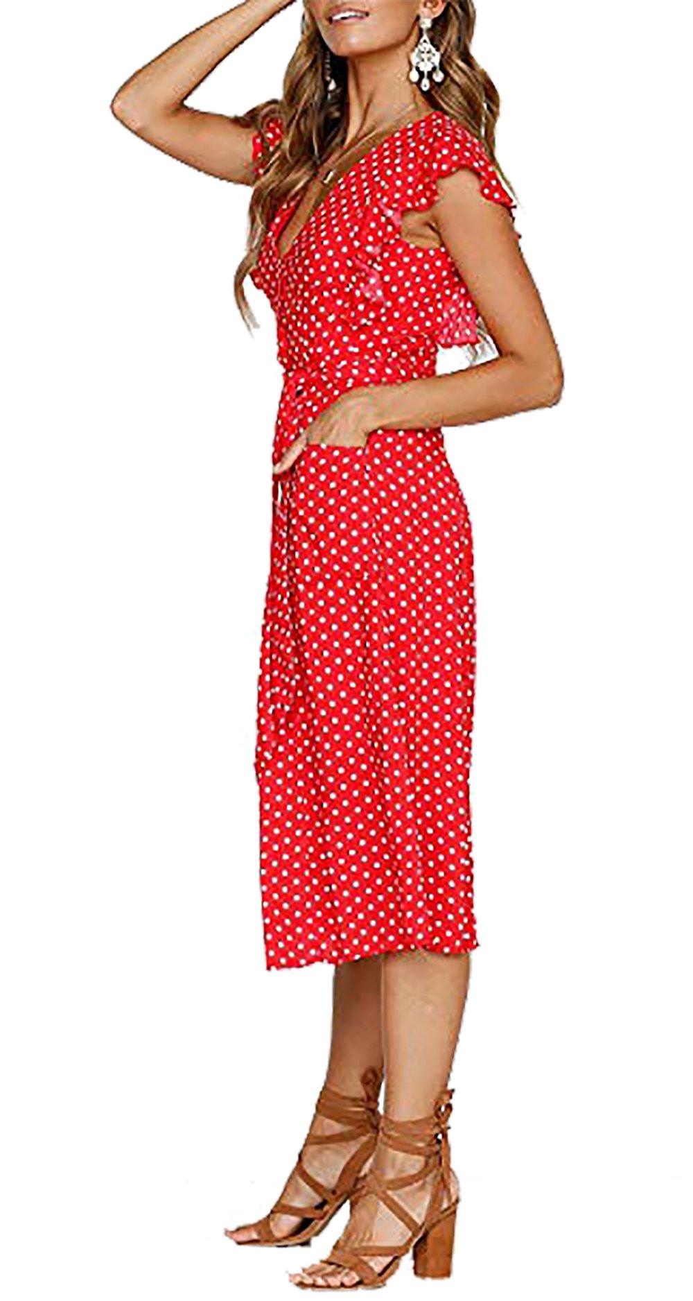 BTFBM Women's 2018 V Neck Polka dot High Waist Tie Bow Streetwear Boho Maxi Dress Without Belt (Red, Medium) by BTFBM (Image #3)