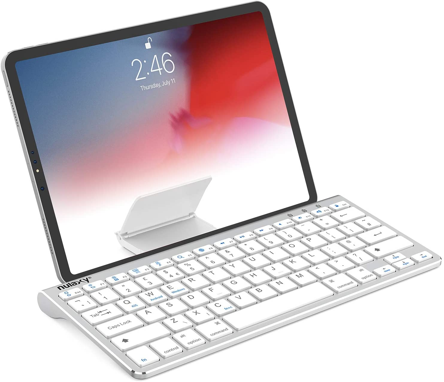 Amazon Com Nulaxy Km13 Wireless Bluetooth Keyboard With Sliding Stand Compatible With Apple Ipad Iphone Samsung Android Windows Tablets Phones Keyboard Silver Computers Accessories