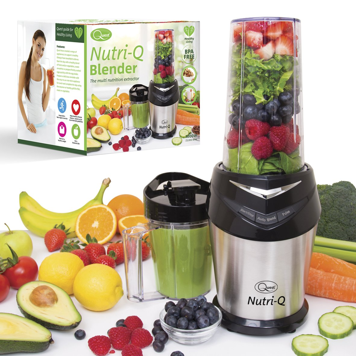 Nutri-Q by Quest 34200 Twin Cup Personal Multi Nutrition Extractor Blender, 1000 W Benross Marketing