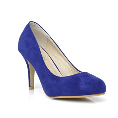 a440590f3e Pearl Electric Blue Faux Suede Stiletto High Heel Classic Court Shoes Size  UK 7 EU 40