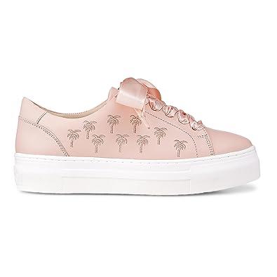 brand new d78d2 96b84 Cox Damen Plateau-Sneaker aus Leder, Schnürer in Rosa mit ...